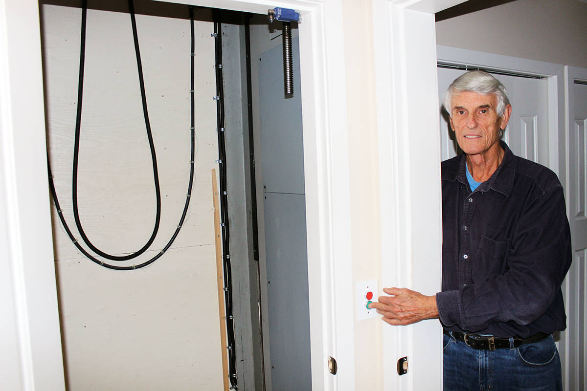 With the elevator on the lower floor, more of Bob Higgins' expertise in building it can be seen. (Photo by Don Bodger)