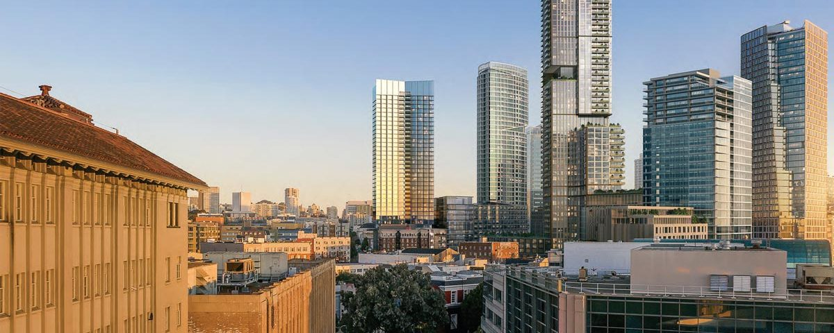 98 Franklin Street, left, will cut a striking figure on the Civic Center neighborhood skyline; rendering by SOM.