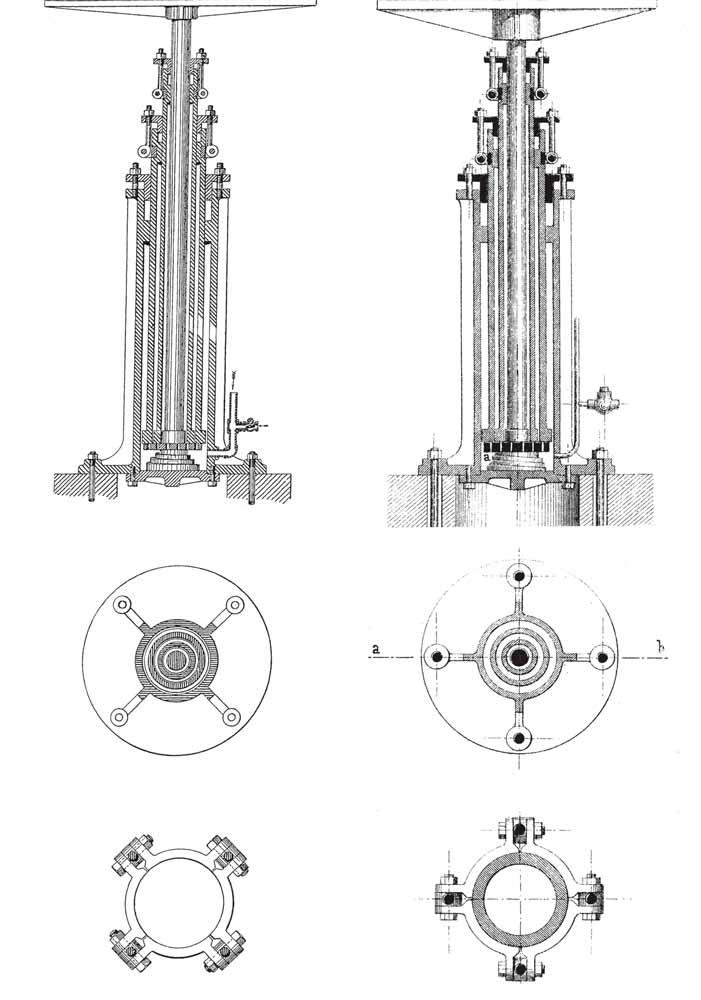 "Figure 6: (l-r) William Barnet Le Van, ""Improvement in Hydraulic Elevators,"" U.S. Patent No. 159,829 (February 16, 1875) and William Barnet Le Van's telescopic hydraulic elevator from Alois Riedler, Personen- und Lastenaufzüge und Fördermaschinen (1877)"