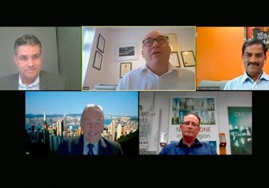 A panel of (l-r, top row) Jochem Wit, David Cooper, Sridhar Rajagopal, (l-r, bottom row) Ian Smith and Philip Hofer leads a discussion on the impact of the COVID-19 pandemic.