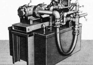 """Figure 4: """"Globe Hoist Passenger Elevator Power Unit"""" from """"Oil-Powered Units Ensure Reliability of Modern Electric-Hydraulic Elevators, Lifts"""" (EW, March 1955) by Annett"""
